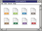 Nostalgický okno včetně ikony dokumentu — Stock vektor