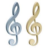 3d metallic violin clefs — Stock Vector