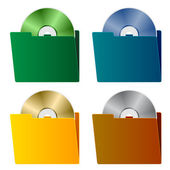 Folders with CD — Stock Vector