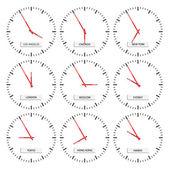 时钟的面孔-时区 — 图库矢量图片