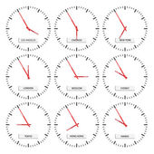 Clock faces - timezones — Wektor stockowy