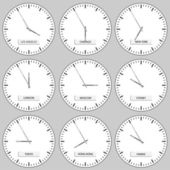 Clock faces - timezones — Vettoriale Stock