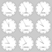Reloj faces - zonas horarias — Vector de stock