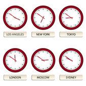 Wijzerplaten - timezones — Stockvector