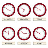 Clock faces - timezones — Stock Vector