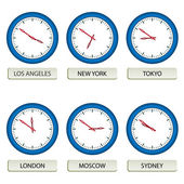 Clock faces - timezones — Stockvector