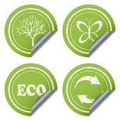 Scratched eco stickers — Stock Vector