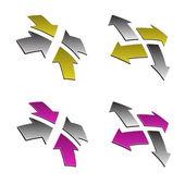 3d shiny arrows — Stock Vector