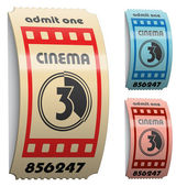 3d lesklý stočený do kina vstupenky — Stock vektor