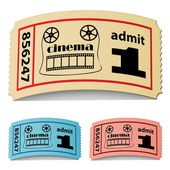 3d curled cinema tickets — Stock Vector