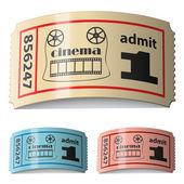 3d блестящие свернувшись кино билеты — Cтоковый вектор