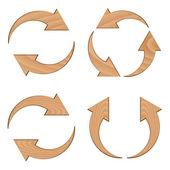 Wooden circular arrows — Stock Vector