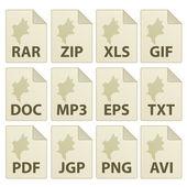 Icone documento invecchiato — Vettoriale Stock