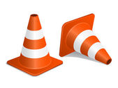 Traffic cones with shadow — Stock Vector