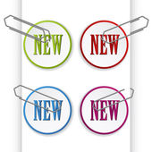 New sign labels with paperclips — Stock Vector