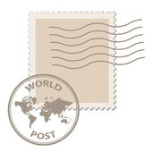 Blank post stamp with world map postmark — Stock Vector