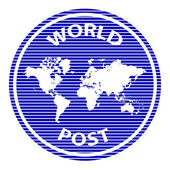 Abstract world post rubber stamp — Stock Vector