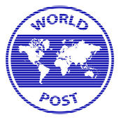 Abstract world post rubber stamp — Wektor stockowy