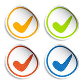 Positive checkmark stickers — Stock Vector
