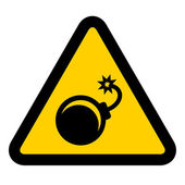 Bomb warning sign — Vettoriale Stock