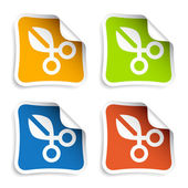 Scissors stickers — Stock Vector