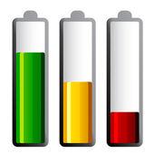 Baterías con los niveles de carga diferentes — Vector de stock