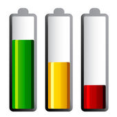 Batteries with different charge levels — Stockvector