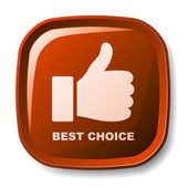 Red best choice button — Stock Vector