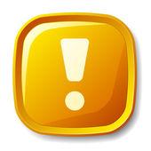 Yellow exclamation mark button — Vetor de Stock
