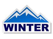 Sticker montagne hiver — Vecteur