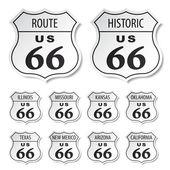 Route 66 adesivi bianco e nero — Vettoriale Stock