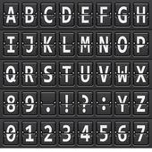 Alphabet of black mechanical panel — Vettoriale Stock