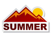 Summer mountain sticker — Stock Vector