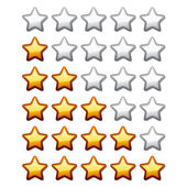 Golden shiny rating stars — Stock Vector