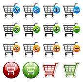 Přidat odstranit nákupní košík zboží — Stock vektor
