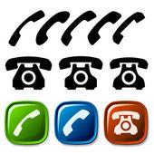 Iconos de teléfono antiguo — Vector de stock