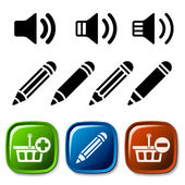 Speaker pencil basket icons — Stock Vector