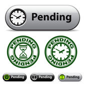 Pending time buttons and stamps — Stock Vector