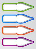 Old ink pen nib stickers — Stock Vector