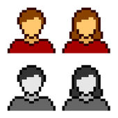 Pixel male female avatar icons — Stock Vector