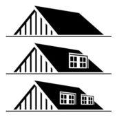 Silueta negra casa techo — Vector de stock