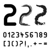 Original font numbers - easy apply any stroke — Stock Vector