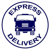Express delivery stamp - truck silhouette — Stock Vector
