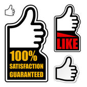 Thumb up satisfaction guaranteed label — Stockvector