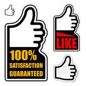 満足は保証ラベルを親指します。 — ストックベクタ