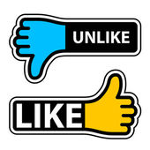 Thumb like unlike labels — 图库矢量图片