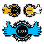 Spokojenost zaručena štítky s prstem — Stock vektor