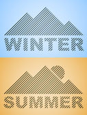 Striped winter and summer mountain — Stock Vector