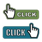 Gestreepte hand cursor etiketten — Stockvector