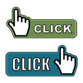 Gestreifte hand-cursor-etiketten — Stockvektor